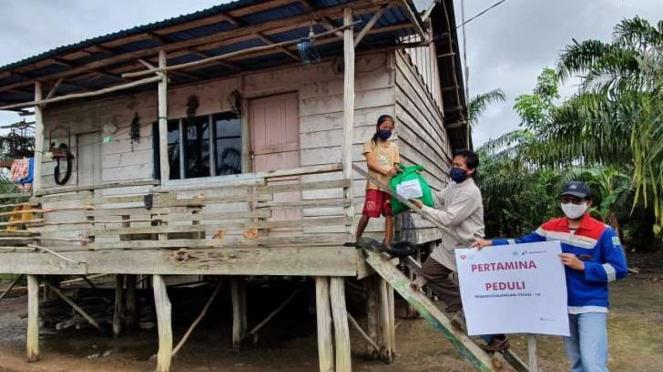 Pertagas bantu warga sekitar wilayah operasi di tengah Pandemi Corona.