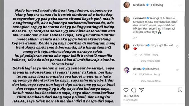 Permintaan maaf Sarah Salsabila