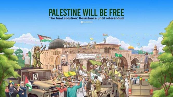 Kartun yang menggambarkan kebebasan Palestina