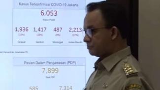 Gubernur DKI Jakarta, Anies Baswedan paparkan kasus COVID-19.