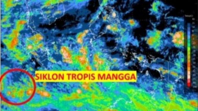 BMKG deteksi adanya siklon tropis Mangga di Samudera Hindia.