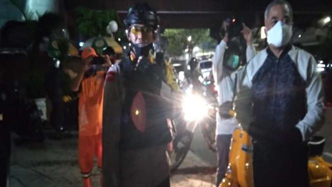 Patroli polisi saat malam Takbiran di Jakarta