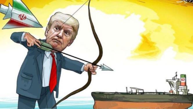 VIVA Militer: Karikatur Donald Trump gagal cegat kapal tanker Iran.