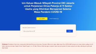 Laman situs corona.jakarta.go.id untuk membuat Surat Izin Keluar-Masuk DKI Jkt