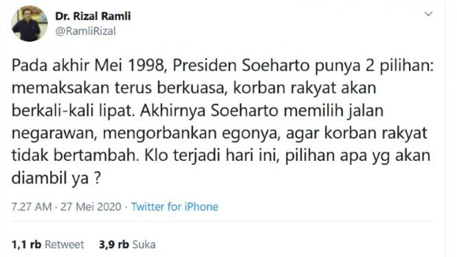 Tweet Rizal Ramli bandingkan akhir masa orba Soeharto Vs Era New Normal Jokowi