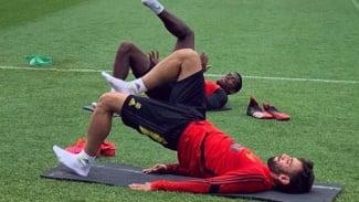 2 Gelandang MU, Paul Pogba dan Bruno Fernandes, berlatih bersama