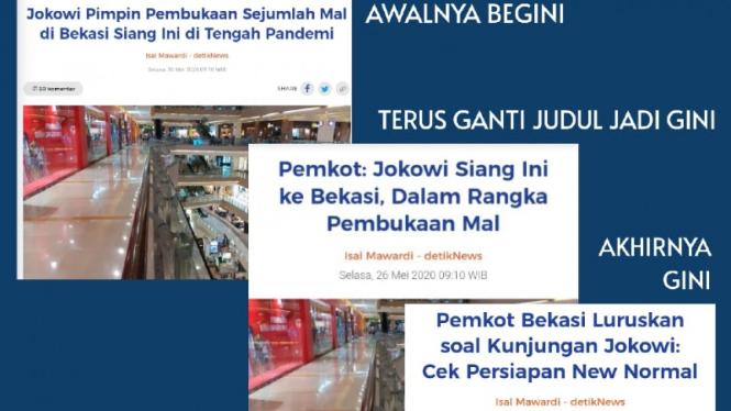 Deretan judul berita Detikcom soal kunjungan Jokowi ke mal Bekasi.
