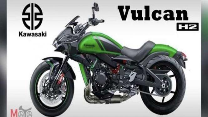 Ilustrasi Supercruiser bike Kawasaki Vulcan H2