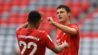 Bek Bayern Munich, Benjamin Pavard, rayakan gol ke gawang Dusseldorf