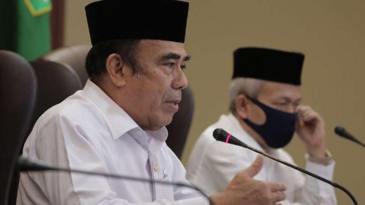 Menteri Agama Fachrul Razi saat pengumuman pembatalan pemberangkatan haji 2020.