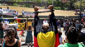 Aksi demonstrasi saat Pertemuan G20 di Brisbane tahun 2014 memprotes kematian sejumlah warga Aborigin dalam tahanan.