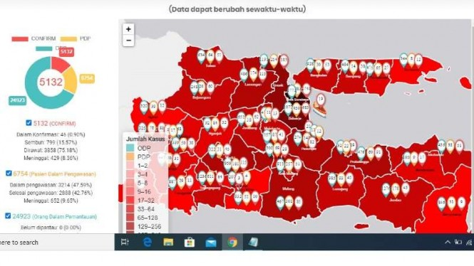 Peta penyebaran virus corona di Jawa Timur.