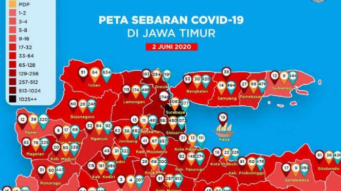 Warna menghitam Kota Surabaya dalam peta Covid-19 Jawa Timur.