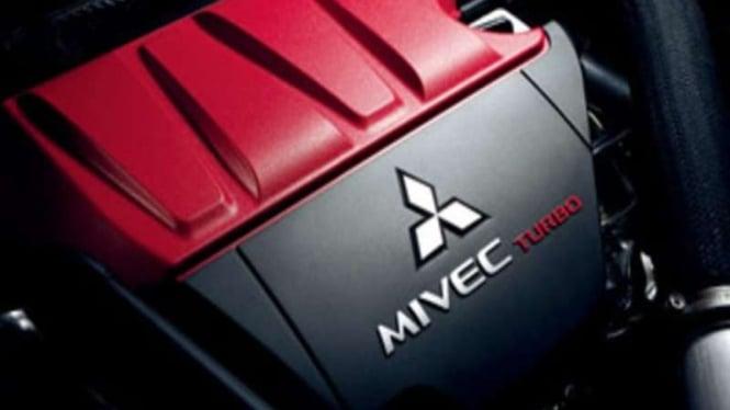 Ilustrasi logo Mitsubishi di mesin