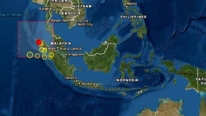lokasi gempa Aceh.