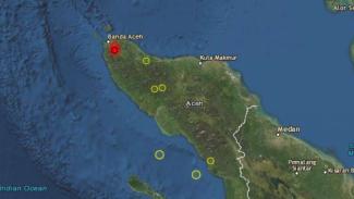 Peta lokasi gempa Aceh.