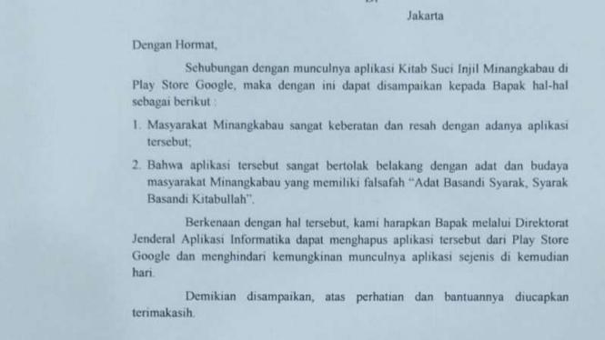 Surat Pemprov Sumatera Barat ke Kominfo RI terkait adanya Injil berbahasa Minang di Google Play Store.