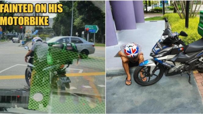 Foto viral pengemudi ojol terkulai lemah di jalanan Singapura