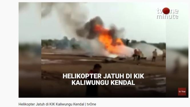 Helikopter jatuh di KIK Kaliwungu Kendal