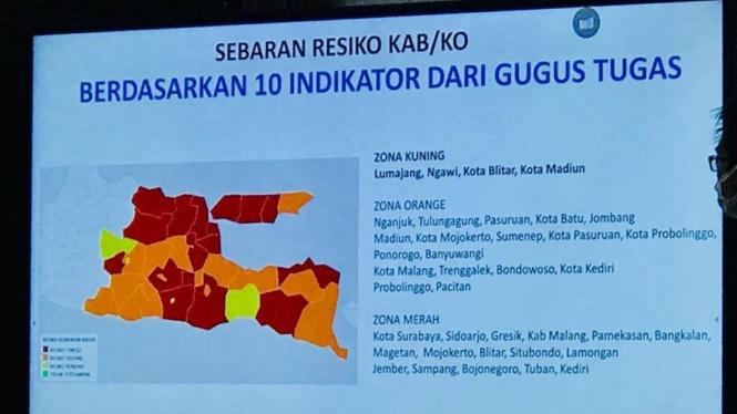 Peta sebaran virus corona di Provinsi Jawa Timur.