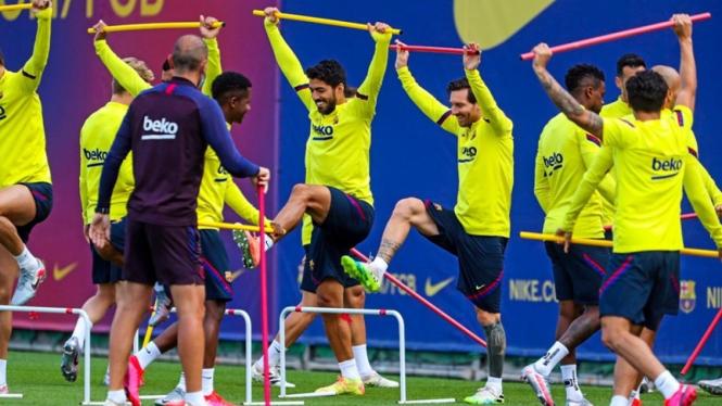 Lionel Messi kembali latihan bersama tim Barcelona