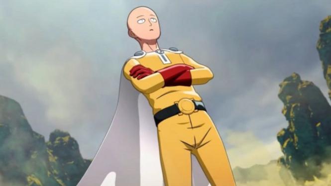 Superhero di anime One Punch Man, Saitama.