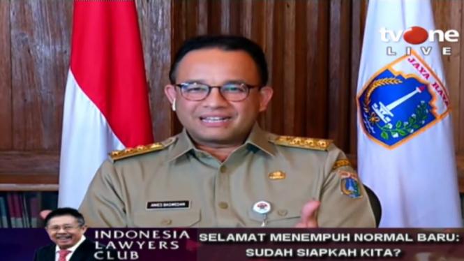 Gubernur DKI Jakarta, Anies Baswedan bicara di ILC Selamat Menempuh Normal Baru
