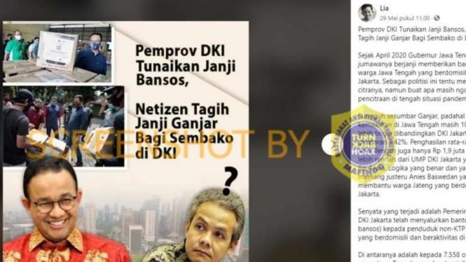 Tangkapan layar (screenshot) halaman akun Facebook yang menyebut bahwa warganet menagih janji Gubernur Jawa Tengah untuk memberikan sembako bagi warga di DKI Jakarta yang terdampak corona.
