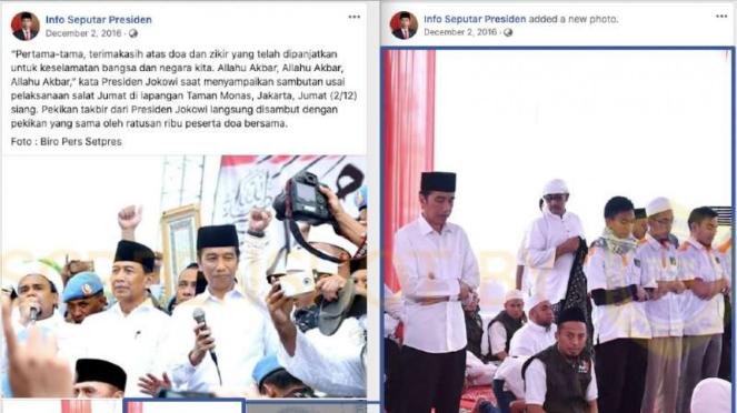 Tangkapan layar (screenshot) halaman akun Facebook milik Presiden Joko Widodo ya