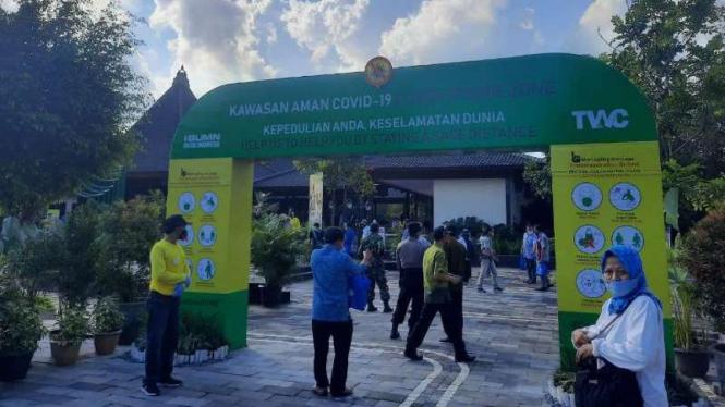 Simulasi kunjungan wisatawan di Candi Prambanan saat masa Covid-19