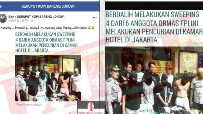 Beredar hoaks dengan narasi berdalih sweeping empat anggota FPI mencuri.