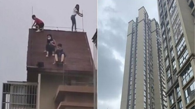 Anak-anak bermain di atap gedung 32 lantai.