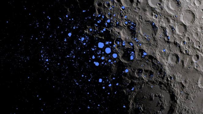 Berburu air di Bulan.