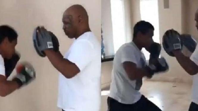 Miguel Leon Tyson berlatih dengan ayahnya, Mike Tyson.
