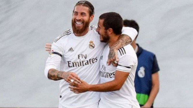 Pemain Real Madrid, Sergio Ramos dan Eden Hazard.