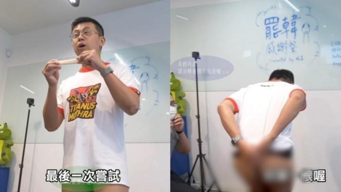 Chiu Wei-chieh patahkan sumpit dengan bokongnya.
