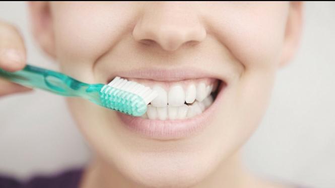 Ilustrasi sedang bersikat gigi