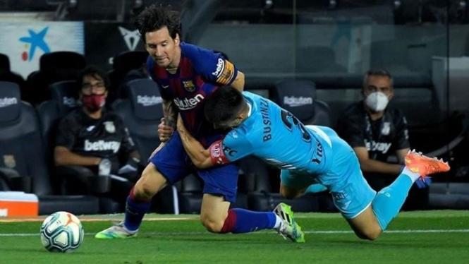 Aksi Lionel Messi saat Barcelona mengalahkan Leganes 2-0.