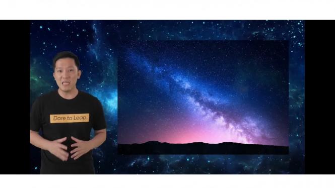 Foto pemandangan langit berbintang pakai fitur Starry Mode.