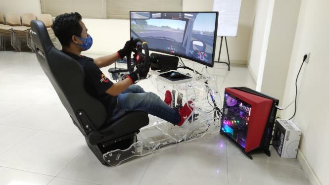 Ilustrasi balap mobil virtual