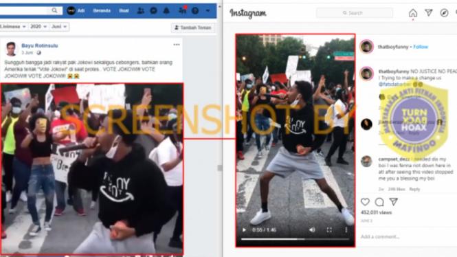 """Hoax, Video """"orang Amerika teriak 'Vote Jokowi' di saat protes"""""""