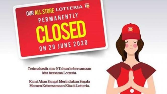 Lotteria Indonesia tutup permanen