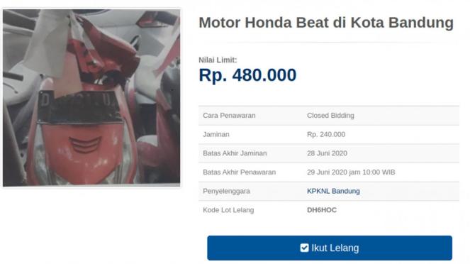 Lelang Honda BeAT mulai dari Rp480 ribu