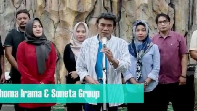 Tangkapan layar (screenshot) video yang memperlihatkan Rhoma Irama dan Soneta Group mengumumkan akan menggelar konser di Kabupaten Bogor, Jawa Barat.
