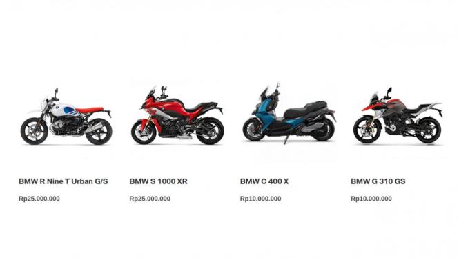 Web resmi BMW cantumkan label harga unik untuk motor