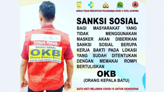 Penerapan sanksi sosial dengan rompi OKB (Orang Kepala Batu) di Jayapura, Papua