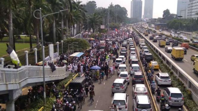 Aksi PA 212 menolak RUU HIP di DPR, Rabu, 24 Juni 2020.