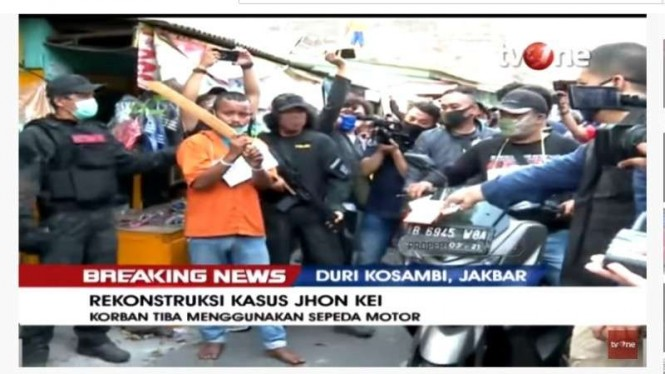 Rekonstruksi kasus Jhon Kei di kawasan Duri Kosambi, Jakarta Barat.
