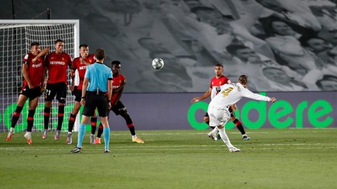 Kapten Real Madrid, Sergio Ramos saat melawan Real Mallorca