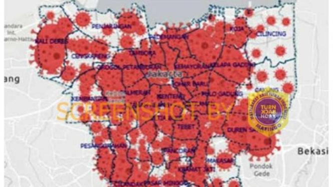 Tangkapan layar gambar peta persebaran wabah virus corona di DKI Jakarta yang memperlihatkan banyak wilayah berwarna merah alias zona merah.